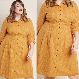 ModCloth Broadcast Coordinator Mustard Shirt Dress
